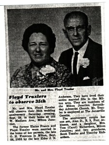 Floyd & Elaine (Frantz) Traxler photo & news clipping