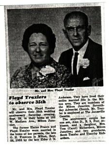 Floyd & Elaine (Frantz) Traxler photo & news clipping