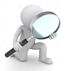 Magnifying glass with white stick figure and black handle on magnifying glass