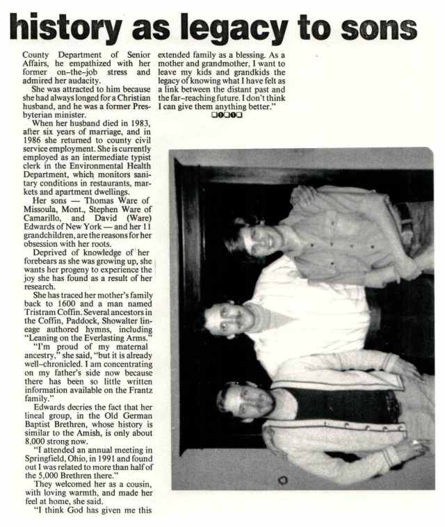 Newspaper article about Lorraine Frantz Edwards publication