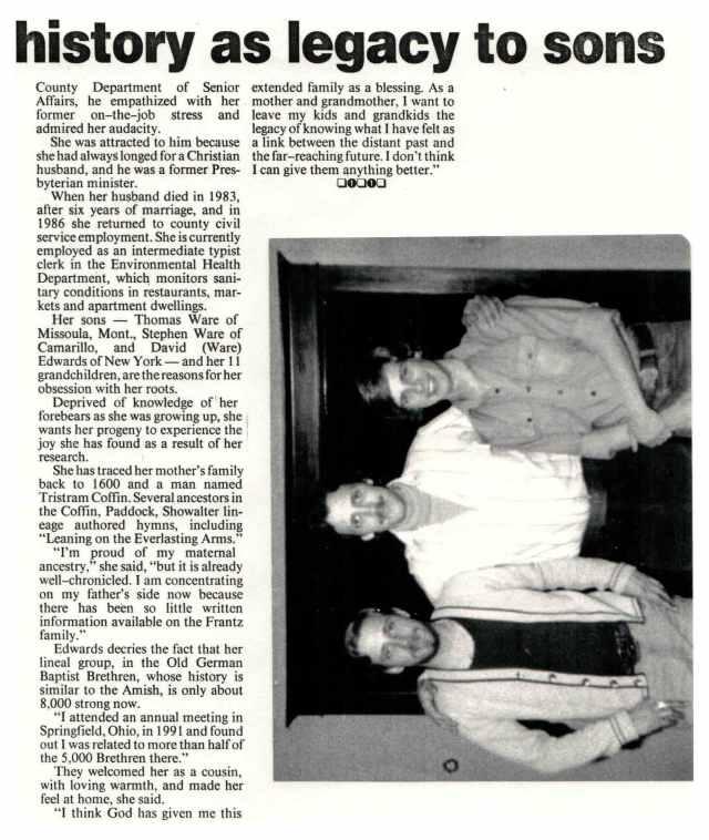 Newspaper article about Lorraine Frantz Edwards publication