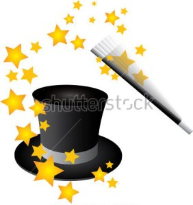 Magician black hat and wand