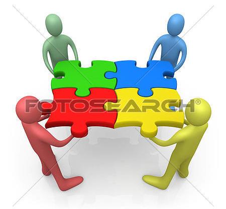 Puzzle pieces team work